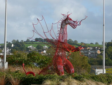 SN4119 : Red dragon sculpture on roundabout, Carmarthen by Colin Park
