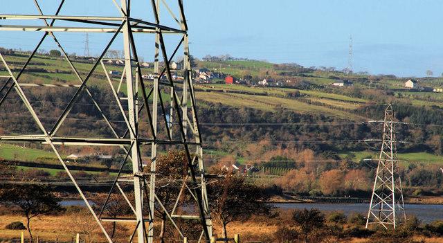 Pylons and power lines, Ballystrudder, Islandmagee (2)