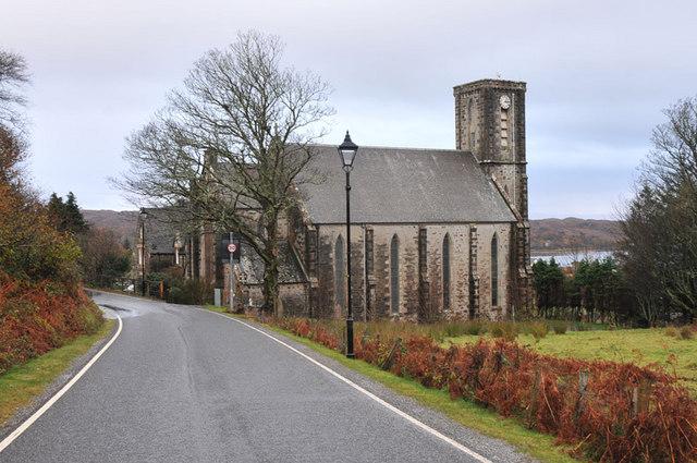 B8008 and St Mary's Church, Arisaig