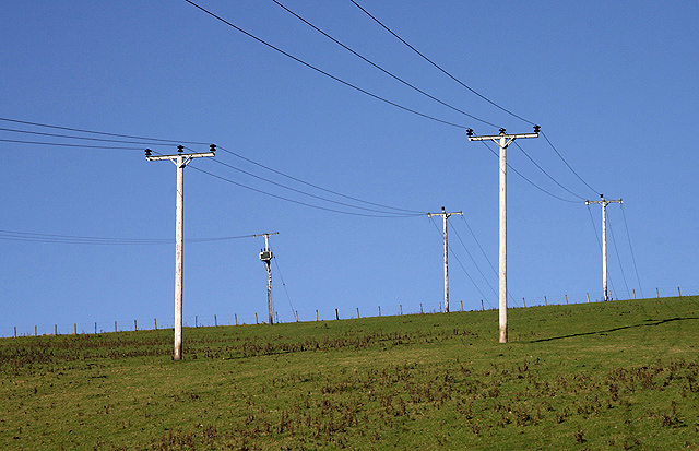 Utility poles and power lines