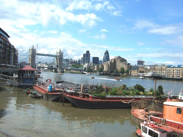 Floating garden on the Thames near Tower Bridge, London