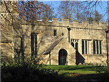 SK4968 : Scarcliffe - St Leonard's Church porch and nave by Dave Bevis