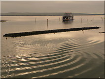 SZ3394 : Lymington: new breakwater and approaching ferry by Chris Downer