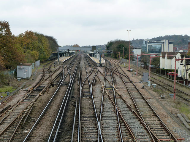 Trackwork, north end of Redhill station