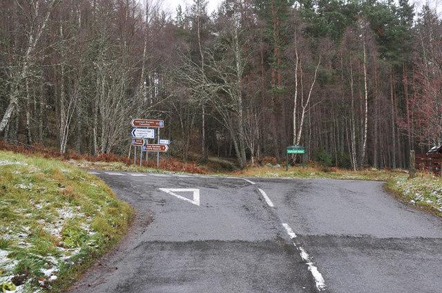 Road junction near Loch Insh