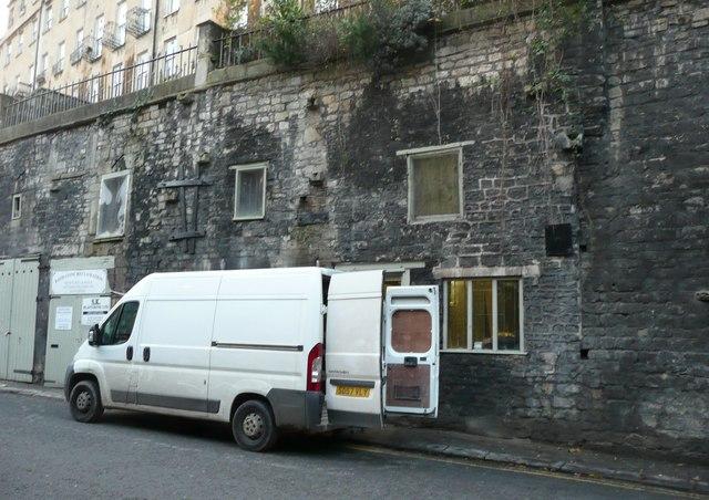 Stone reclamation workshop, Walcot Street, Bath