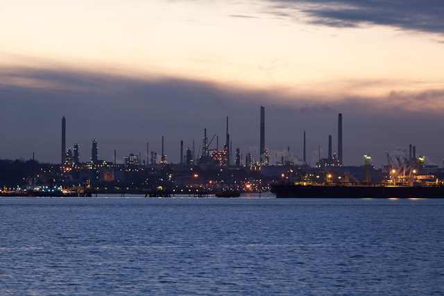 Fawley Oil Refinery at dusk