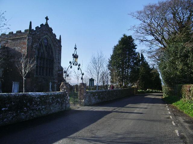 Road near Arthuret House and church