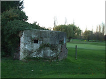 TQ8789 : Pillbox near the green by terry joyce