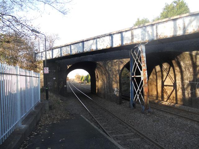 The railway line heading north