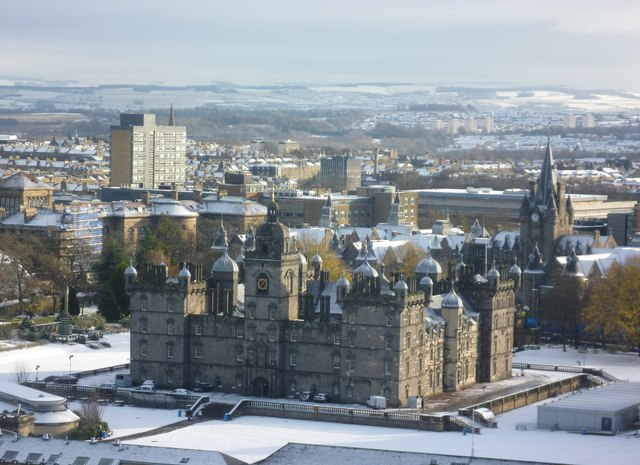 George Heriot's and the Old Infirmary from Edinburgh Castle
