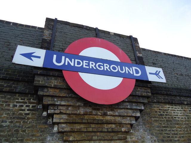 Underground sign on bridge above North Circular Road, Brent Cross