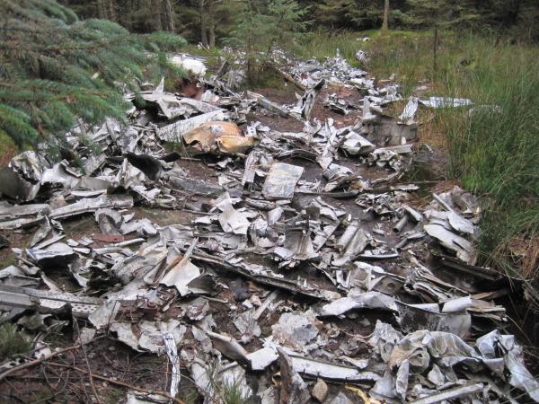Remains of Crashed Halifax Bomber