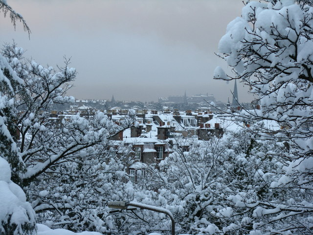 Edinburgh roofscape in the snow