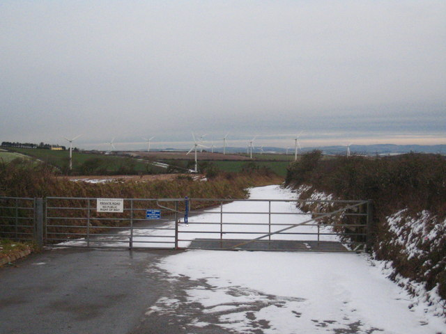 The access road to Four Burrows Wind Farm
