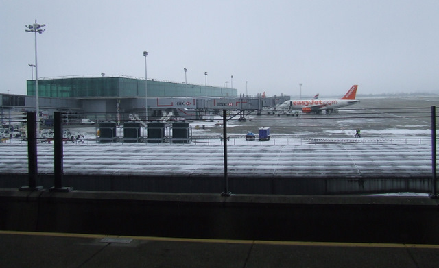 Snow at Stansted Airport