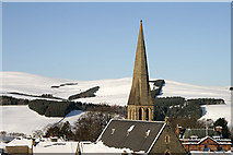 NT4728 : A church spire in Selkirk by Walter Baxter