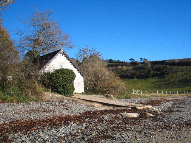 Boathouse on Porth Sawsen beach
