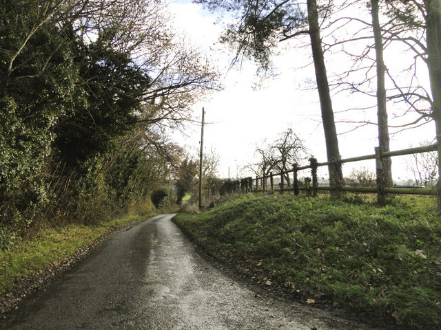 Narrow country road near Camp Hill Farm