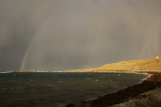 Rainbow and wintry shower approaching, Westing