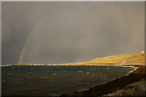 HP5605 : Rainbow and wintry shower approaching, Westing by Mike Pennington