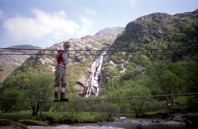 On the wire bridge at Steall