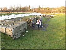 NZ2115 : Ruins of Piercebridge Roman bridge by David Hawgood