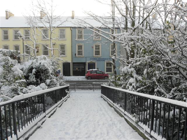 Snowy footbridge, Omagh