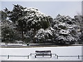 SZ0890 : Bournemouth: bench in Lower Gardens snow by Chris Downer