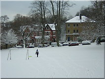 TQ3370 : Fox Hill playing field in snow by Christopher Hilton