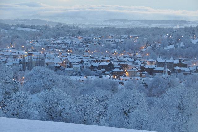Mid Devon : Snowy Tiverton scene