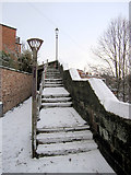 SJ4065 : The Wishing Steps in the snow by John S Turner
