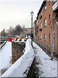 SJ4065 : The city walls towards the Bridgegate in the snow by John S Turner