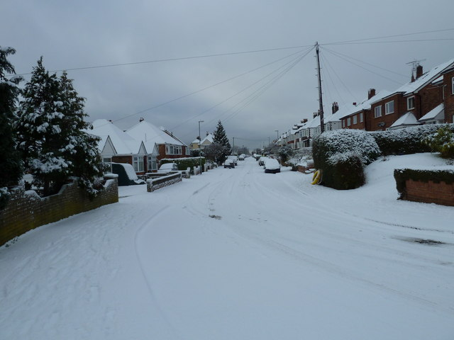 Looking from Beverley Grove towards Woodfield Avenue