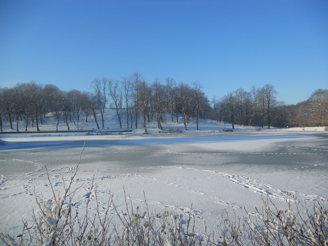 Footprints across a frozen lake