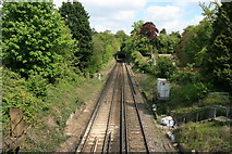 SU9948 : Portsmouth line railway from Ferry Lane bridge by Paul E Smith