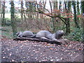 SW6443 : Log sculpture in Tehidy Country Park by Rod Allday