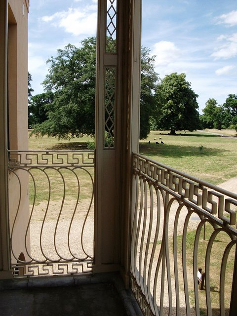 Moggerhanger House -detail of balcony on north-east elevation