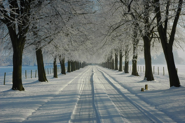 Snow-covered driveway to Earl's Croome Court