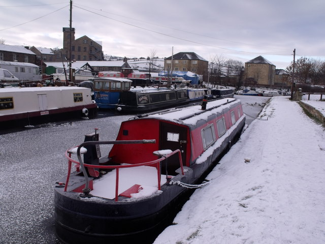 A frozen Calder and Hebble Navigation Canal
