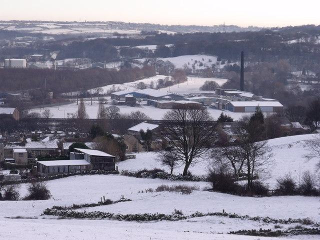 Across Snowy fields towards Lower Hopton