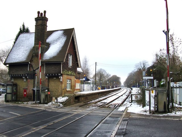Betchworth Station in snow - the view west