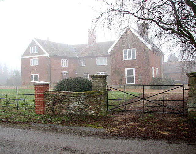 Red House Farm on a misty day in late December