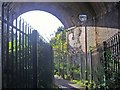 TQ2093 : Path under the railway leading to Stoneyfields Park by David Howard