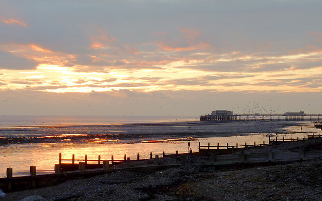 Dusk over Worthing Beach, West Sussex