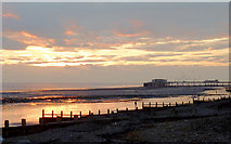 TQ1602 : Dusk over Worthing Beach, West Sussex by Roger  Kidd