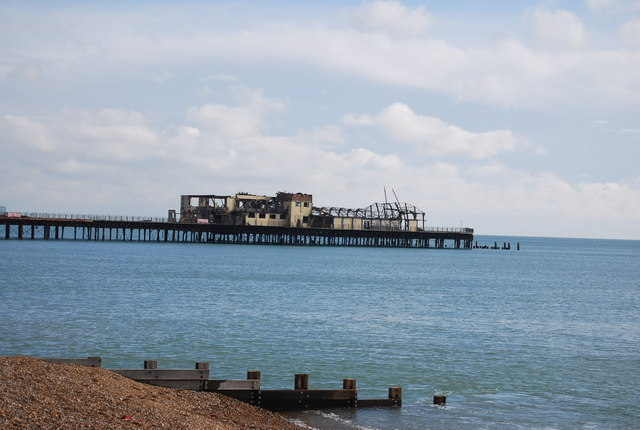 Fire damaged Hastings Pier