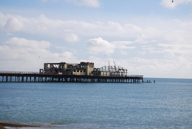 Fire damage, Hastings Pier