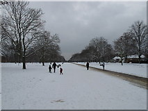 TQ2580 : Kensington Gardens Broad Walk in snow by David Hawgood