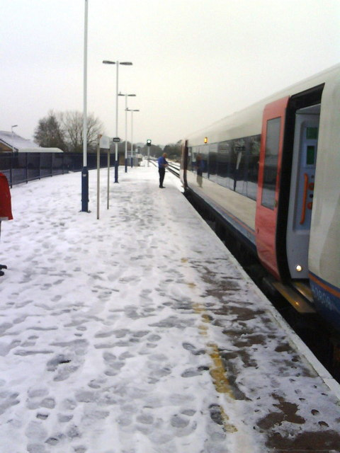 Green light for go at a snowy Wareham Station
